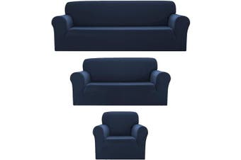 (3pc (Sofa, Loveseat, Chair), Dark Blue) - Bedding Haus 3pc Couch Slip Cover Set (Sofa, Loveseat, Chair), Stretch Form-fit, Furniture Protector, Plaid Pattern, Premium Polyester/Spandex, Daisy, 3pc Dark Blue