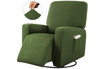 (1pc (Recliner Cover), Green/Sage) - Sapphire Home Recliner Chair SlipCover Shield, Form-fit Stretch, Wrinkle Free, Furniture Protector, Remote Pocket, Polyester Spandex Fabric, Solid Non-Slip, Diamond Pattern, Rec Green/Sage