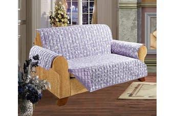 (Sofa, Lilac Leaf Print) - Elegant Comfort Quilted Pet Dog Children Kids Furniture Protector Slip Cover, Leaf Design Lilac Sofa