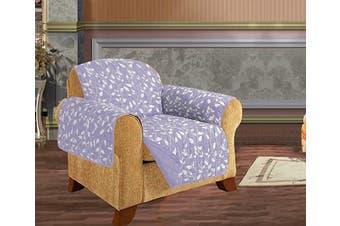 (Chair, Lilac Leaf Print) - Elegant Comfort Quilted Pet Dog Children Kids Furniture Protector Slip Cover, Leaf Design Lilac Chair