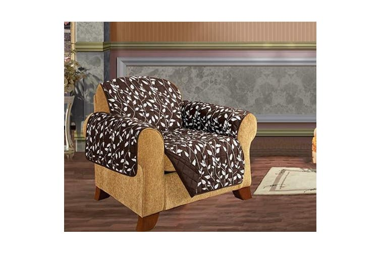 (Chair, Chocolate Leaf Print) - Elegant Comfort Quilted Pet Dog Children Kids Furniture Protector Slip Cover, Leaf Design Chocolate Chair
