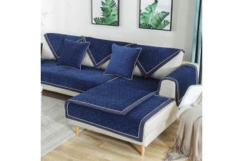 (1pc/90cm  x 120cm /Rectangular, Dark Blue) - TEWENE Sofa Cover, Velvet Couch Cover Anti-Slip Sectional Couch Covers Sofa Slipcover for Dogs Cats Pet Love Seat Recliner Armrest Backrest Cover Blue (Sold by Piece/Not All Set)