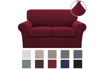 (Medium, Burgundy) - Turquoize 3 Piece Stretch Sofa Covers Loveseat for 2 Cushion Couch Covers Slipcovers Including Base Cover and 2 Individual Seat Cushion Covers, Thick Jacquard Customised Fitting (Medium, Burgundy)