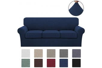 (Large, Navy) - Turquoize 4 Piece Stretch Sofa Covers for 3 Cushion Couch Covers Sofa Slipcovers Including Base Cover and 3 Individual Seat Cushion Covers, Thick Soft Jacquard Customised Fitting (Large, Navy)