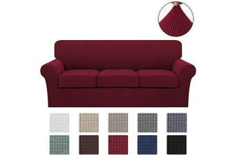 (Large, Burgundy) - Turquoize 4 Piece Stretch Sofa Covers for 3 Cushion Couch Covers Sofa Slipcovers Including Base Cover and 3 Individual Seat Cushion Covers, Thick Soft Jacquard Customised Fitting (Large, Burgundy)