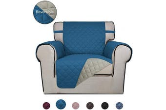 (Peacock Blue/Beige) - PureFit Reversible Quilted Sofa Cover, Water Resistant Slipcover Furniture Protector, Washable Couch Cover with Non Slip Foam and Elastic Straps for Kids, Pets (Chair, Peacock Blue/Beige)