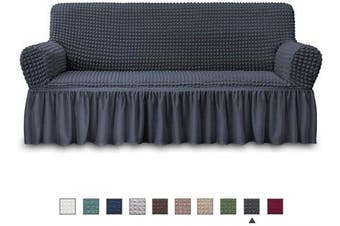 (SOFA, Dark Grey) - NICEEC Sofa Slipcover Dark Grey Sofa Cover 1 Piece Easy Fitted Sofa Couch Cover Universal High Stretch Durable Furniture Protector with Skirt Country Style (3 Seater Dark Grey)