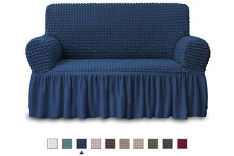 (LOVESEAT, Navy) - NICEEC Loveseat Slipcover Blue Loveseat Cover 1 Piece Easy Fitted Sofa Couch Cover Universal High Stretch Durable Furniture Protector Love Seat with Skirt Country Style (2 Seater Navy Blue)