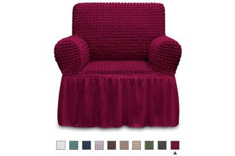 (ARMCHAIR, Wine) - NICEEC Armchair Slipcover Burgundy Armchair Covers 1 Piece Easy Fitted Sofa Couch Cover Universal High Stretchable Durable Furniture Protector with Skirt Country Style (1 Seater Wine Red)