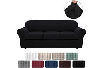(Large, Black) - H.VERSAILTEX 4 Piece Stretch Sofa Covers for 3 Cushion Couch Covers for Living Room Furniture Slipcovers (Base Cover Plus 3 Seat Cushion Covers) Feature Upgraded Thicker Jacquard Fabric (Sofa, Black)