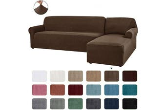 (Coffee) - CHUN YI 2 Pieces L-Shaped Right Chaise Jacquard Polyester Stretch Fabric Sectional Sofa Slipcovers Dust-Proof L Shape Corner 2 Seats Sofa Cover Set for Living Room (Coffee)