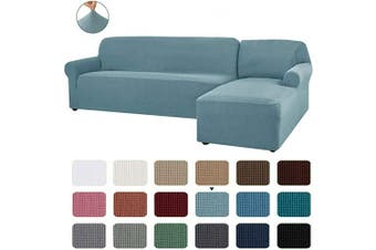 (Smoky Blue) - CHUN YI 2 Pieces L-Shaped Right Chaise Jacquard Polyester Stretch Fabric Sectional Sofa Slipcovers Dust-Proof L Shape Corner 2 Seats Sofa Cover Set for Living Room (Smoky Blue)