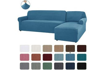 (Denim Blue) - CHUN YI 2 Pieces L-Shaped Right Chaise Jacquard Polyester Stretch Fabric Sectional Sofa Slipcovers Dust-Proof L Shape Corner 2 Seats Sofa Cover Set for Living Room (Denim Blue)