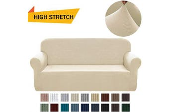 (Large, Beige) - Chelzen Stretch Sofa Covers 1-Piece Polyester Spandex Fabric Living Room Couch Slipcovers (Large, Beige)