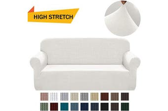 (Medium, Off White) - Chelzen Stretch Sofa Covers 1-Piece Polyester Spandex Fabric Living Room Couch Slipcovers (Medium, Off White)