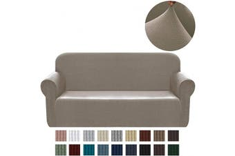 (Large, Sand) - Chelzen Stretch Sofa Covers 1-Piece Polyester Spandex Fabric Living Room Couch Slipcovers (Large, Sand)