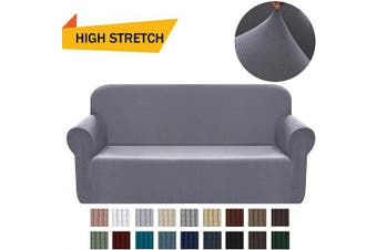 (Medium, Light Gray) - Chelzen Stretch Sofa Covers 1-Piece Polyester Spandex Fabric Living Room Couch Slipcovers (Medium, Light Grey)