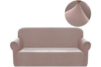 (XL Large, Pink Khaki) - Chelzen Stretch Sofa Covers 1-Piece Polyester Spandex Fabric Living Room Couch Slipcovers (XL Large, Pink Khaki)