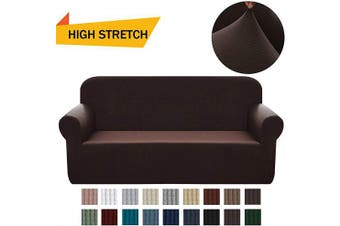 (Large, Dark Brown) - Chelzen Stretch Sofa Covers 1-Piece Polyester Spandex Fabric Living Room Couch Slipcovers (Large, Dark Brown)