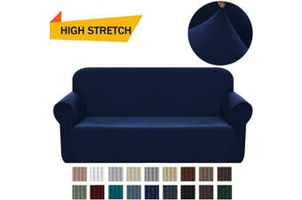 (Medium, Navy Blue) - Chelzen Stretch Sofa Covers 1-Piece Polyester Spandex Fabric Living Room Couch Slipcovers (Medium, Navy Blue)