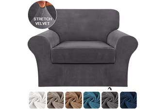 (Small, Gray) - FantasDecor 2 Piece Sofa Cover Stretch Luxury Thick Velvet Armchair Slipcover Cover with 1 Separate Seat Cushion Cover | Couch Cover Chair Cover for Living Room, Customised Fitting (Armchair,Grey)