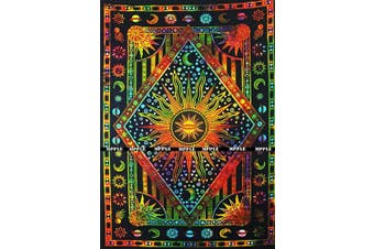 (Small (54 X 60 inches approx)(137 X 153 cms), Orange Multi Color) - Jaipur Handloom Colourful Tie Dye Burning Sun Tapestry Wall Hangin, Celestial Sun Moon Planet Bohemian Tapestry Tapestry Wall Hanging Boho Tapestry Hippie Hippy Tapestry Beach Coverlet