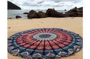 (120cm  Roundie approx, Blue & Orange) - Jaipur Handloom Round Beach Tapestry Blue Orange Mandala Throw/Boho Hippie Beach Blanket Roundie Circle/Indian Cotton Bohemian Large Round Table Cloth/Yoga Mat Meditation Picnic Rug