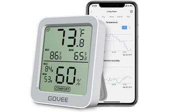 (Grey) - Govee Thermometer Hygrometer, Accurate Indoor Temperature Humidity Sensor with Notification Alert, LCD Bluetooth Temp Humidity Monitor with Data Storage for House Garage Greenhouse Wine Cellar- Grey