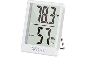 (1, White) - DOQAUS Digital Hygrometer Indoor Thermometer, Humidity Gauge Indicator Room Thermometer, Accurate Temperature Humidity Monitor Metre for Home, Office, Babyroom, Greenhouse, Mini Hygrometer White