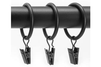 (Pack of 12 (2.9cm ), 1 1/8-inch Diameter - Essential Black (100% Steel)) - Chicology Clip Rings, Fits Rods 2.9cm . Diameter, Curtain & Drapery Hardware, Essential Black - Pack of 12