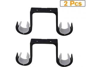 (Black) - Curtain Rod Brackets 2Pcs - Aluminium Alloy Ceiling Mounted Double Curtain Rod Brackets Black