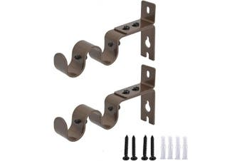 (Brown) - AddGrace 2 PCS Double Curtain Rod Bracket Heavy Duty Vintage Curtain Rod Holder for 1.9cm Rod (Brown)