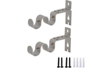(Silver) - AddGrace 2 PCS Double Curtain Rod Bracket Heavy Duty Vintage Curtain Rod Holder for 1.9cm Rod (Silver)