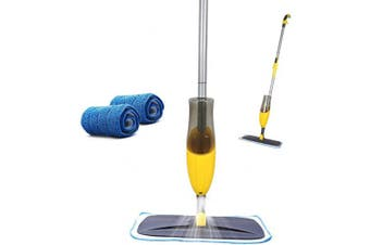 (Mop) - Yocada Microfiber Spray Mop with 2 Washable Mop Pad for Hardwood Ceramic Marble Tile Laminate Home Kitchen Floor Cleaning Wet and Dry Easy Wring 600ml