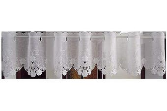 (150cm W X 30cm L 1 Panel, Style#9) - Abreeze Sheer Cafe Curtain Embroidery Pastoral Style Short Bamboo Yarn Curtain Floral Window Valance,150cm W X 30cm L