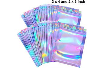 (3 x 4 and 5.1cm  x 7.6cm , Holographic Color) - 100 Pieces Resealable Smell Proof Bags Foil Pouch Bag Flat Ziplock Bag for Party Favour Food Storage (Holographic Colour, 3 x 4 and 5.1cm x 7.6cm )