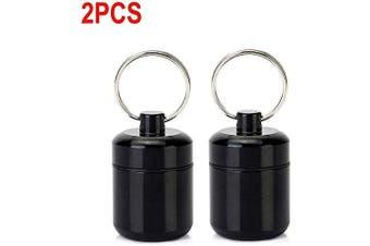 (Black and Black) - CHIVENIDO Small Pill Box, Waterproof Pill Fob Organiser, Portable Pill Holder Keychain (Black and Black)