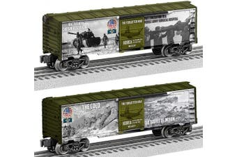 (Korean War) - Lionel 684670 Korean War Made in USA Boxcar, O Gauge, White, Green, Grey, Red, Blue, black