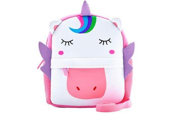 (Unicorn With Leash) - Toddler Backpack, Waterproof Children School Backpack with Chest Buckle, Neoprene Animal Schoolbag with Leash, Lunch Box Carry Bag for Boys Girls, Unicorn with Leash