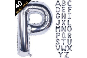 (100cm  Silver, Letter P) - Letter Balloons 100cm Giant Jumbo Helium Foil Mylar for Party Decorations Silver P