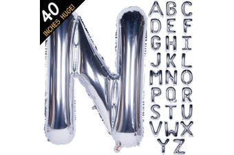 (100cm  Silver, Letter N) - Letter Balloons 100cm Giant Jumbo Helium Foil Mylar for Party Decorations Silver N