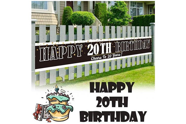 (20) - LINGPAR 3m x 0.5m Large Sign Happy 20th Birthday Banner - Cheers to 20 Years Old Decor