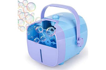 (Blue) - 1byone Bubble Machine, Automatic Bubble Blower for Kids, Powered by Plug-in or Batteries, Outdoor or Indoor Use, Two Bubbles Blowing Speed Levels (2020)