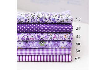(25cm *25cm , Purple) - Different Pattern Floral Cotton Craft Fabric Square 7 Sheet for Patchwork Sewing DIY Craft 9.230cm Purple