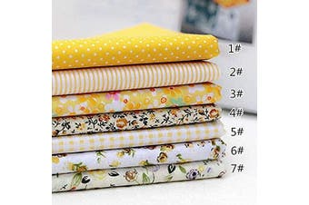 (50cm *50cm , Yellow) - 7pcs Different Pattern Patchwork Fabric 100% Cotton Sewing Scrapbooking Quilting Artcraft for Sewing Craft Cloth DIY Wallet Cushion Cover(50 50cm) Yellow