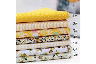 (25cm *25cm , Yellow) - 7pcs Different Pattern Patchwork Fabric 100% Cotton Sewing Scrapbooking Quilting Artcraft for Sewing Craft Cloth DIY Wallet Cushion Cover(25 25cm) Yellow