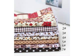 "(25cm *25cm , Brown) - 7pcs 9.8""9.8"""" (25cm25cm) No Repeat Design Printed Floral Cotton Fabric for Patchwork, Sewing Tissue to Patchwork,Quilting Squares Bundles Brown"