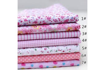 (25cm *25cm , Pink) - 7PCS 25 25cm Cotton Different Pattern Craft Fabric Bundle Patchwork Squares Quilting Sewing Patchwork Cloths DIY,Quilting Squares Bundles Pink