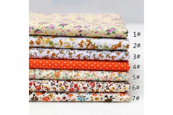 "(25cm *25cm , Orange) - 9.8""9.8"""" (25cm25cm) No Repeat Design Printed Floral Cotton Fabric 7pcs Plat for Patchwork, Sewing Tissue to Patchwork,Quilting Squares Bundles Orange"