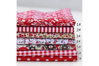 (25cm *25cm , Red) - 7Pcs Cotton Fabric Squares Quilting Fabric Patchwork Precut Fabric Scraps for DIY Quilting for Sewing Crafting 9.230cm red